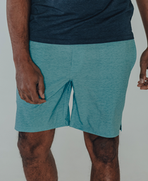 Heathered Hybrid Shorts: Blue Haze