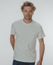 Active Puremeso Crewneck T-Shirt: White/Grey Stripe