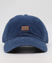 Leather Square Cap: Navy