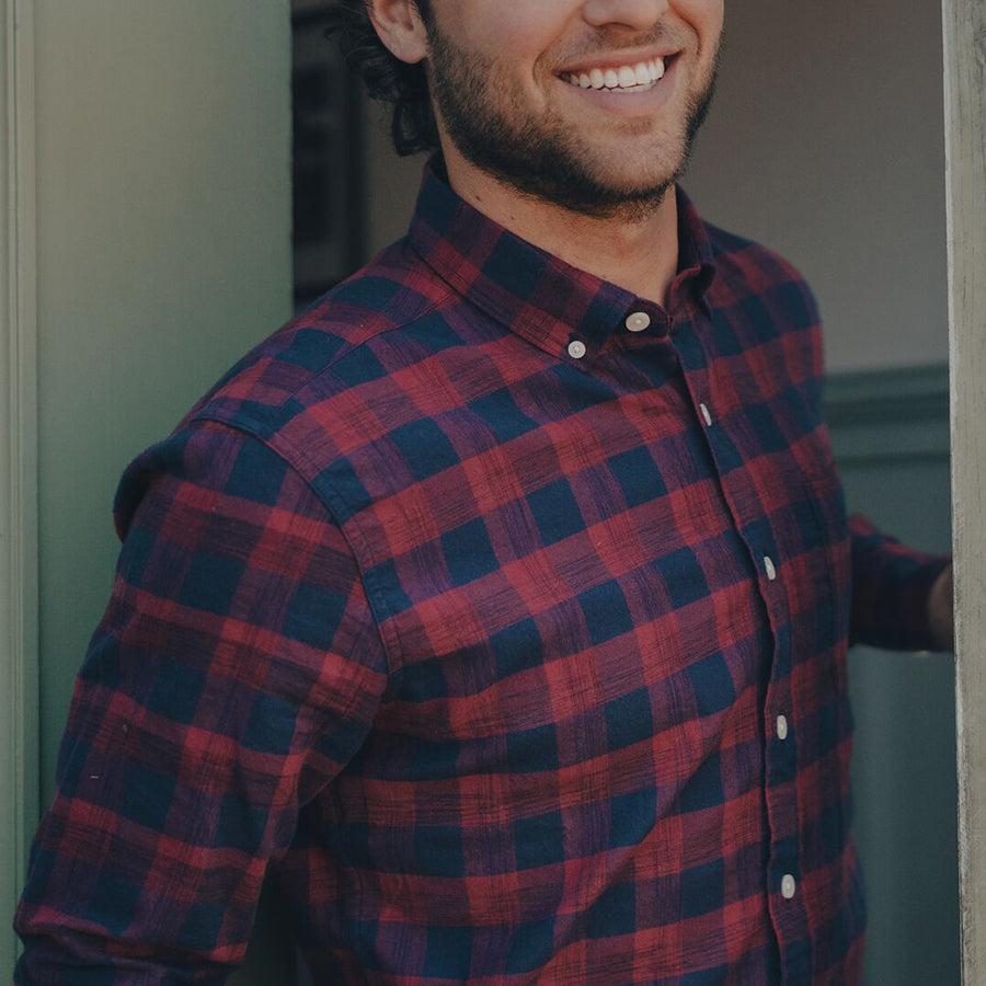 Space Dyed Button Down Shirt - Indigo Plaid