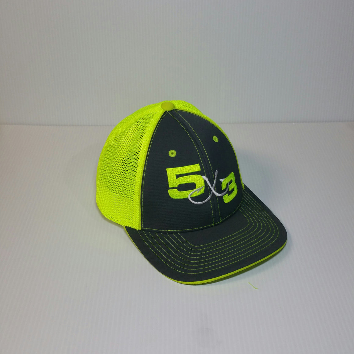 5x3 Neon Green and Gray Fitted Hat (NON FLAT BILL)