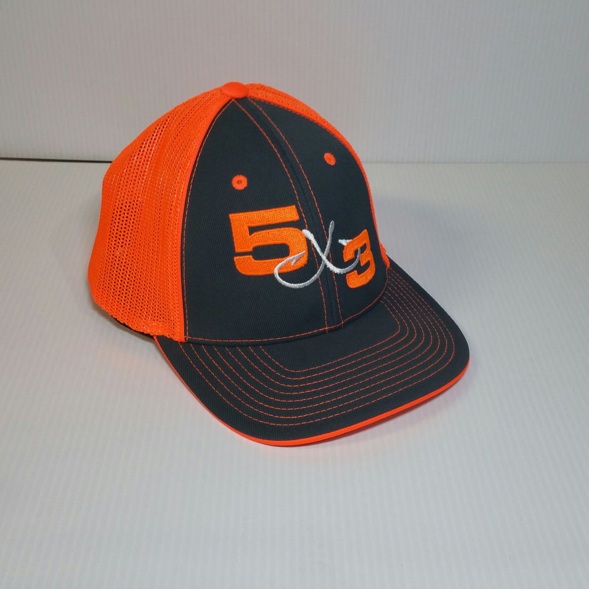 Neon Orange and Gray Fitted Hat