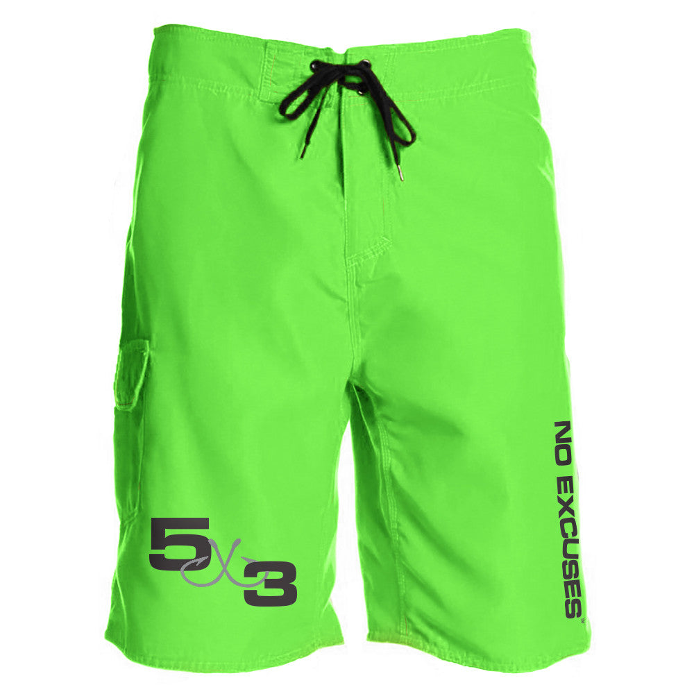 5X3 Neon Green Board Shorts (Preorder)