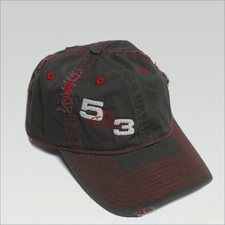 5X3 Adjustable Hat - Gray with Red