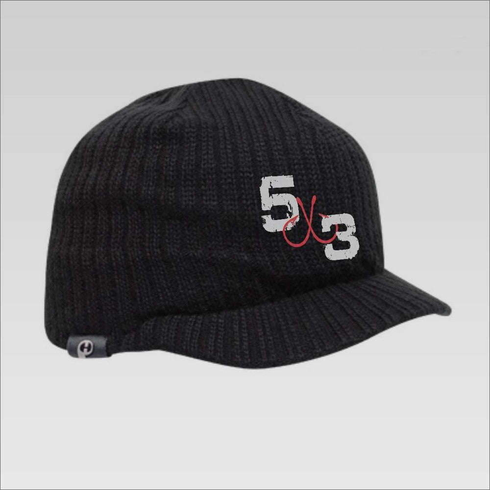 5X3 Black Fleece Beanie With A Bill