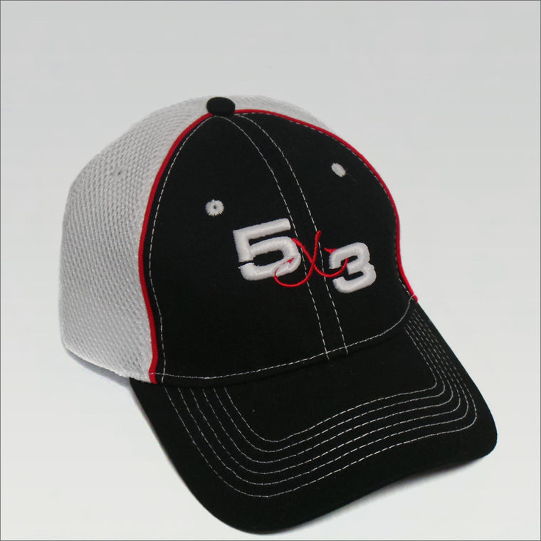 5X3 Black and Red 3D Embroidered adjustable hat