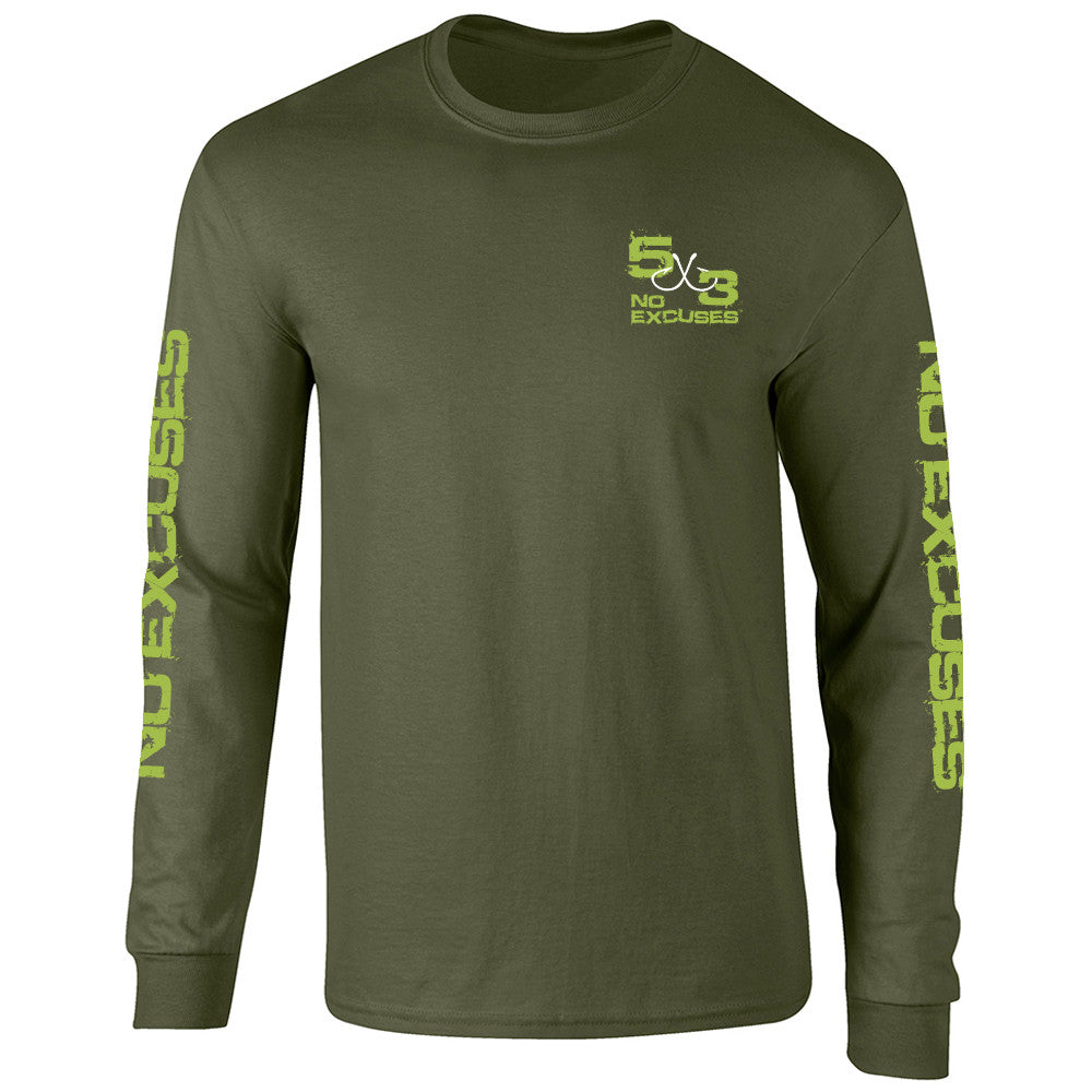 "5X3 Green ""Hang On"" Cotton Blended Long Sleeve Shirt"