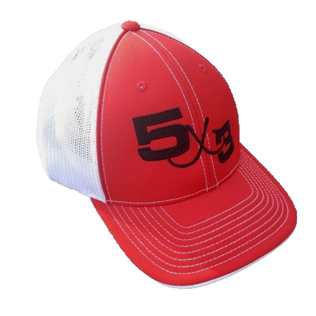 5X3 Fitted Red With Black Embroidered Pacific Headwear Hat
