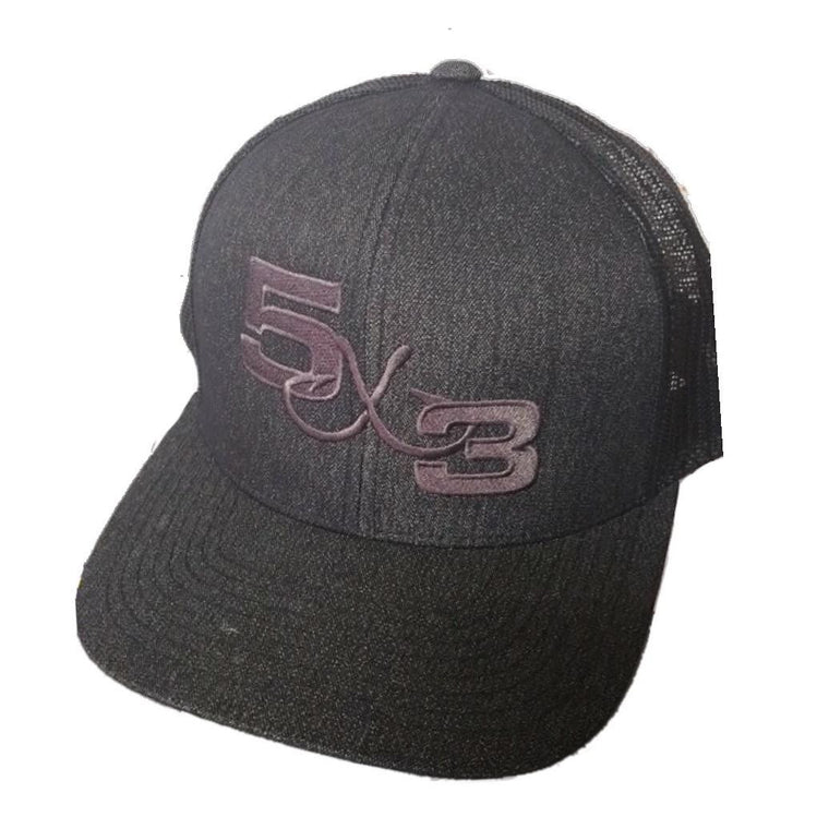 5X3 Black on Black Mesh Snapback Hat