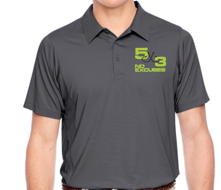 5X3 Embroidered Moisture Wicking Polo (Red,Gray and Black Available) Pre-Order