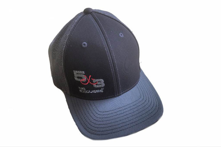 Black and Silver Pacific Headwear Fitted Hat