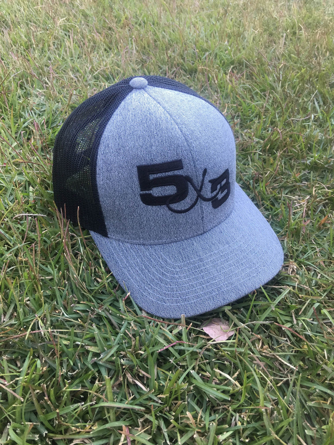 Heather Gray And Black Embroidered Hat