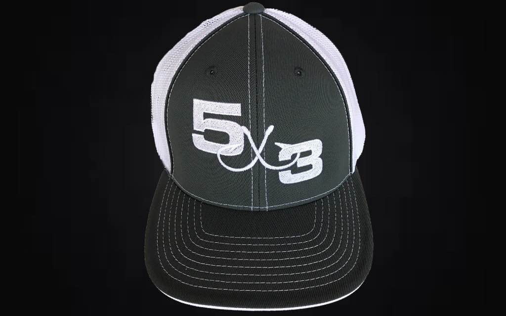 Graphite and White 5X3 Fitted Hat