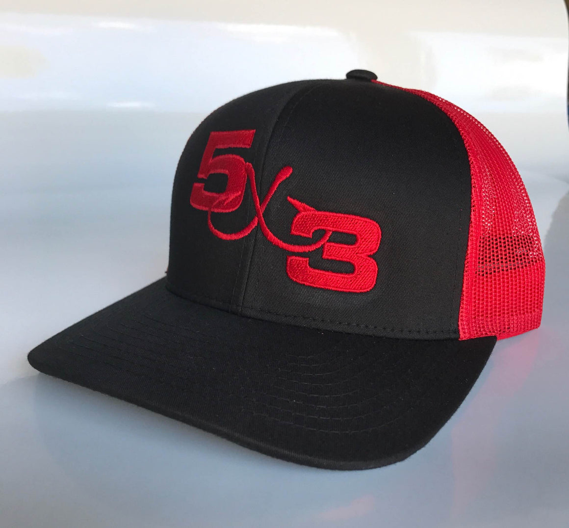 Black with Red Mesh 5X3 Snapback