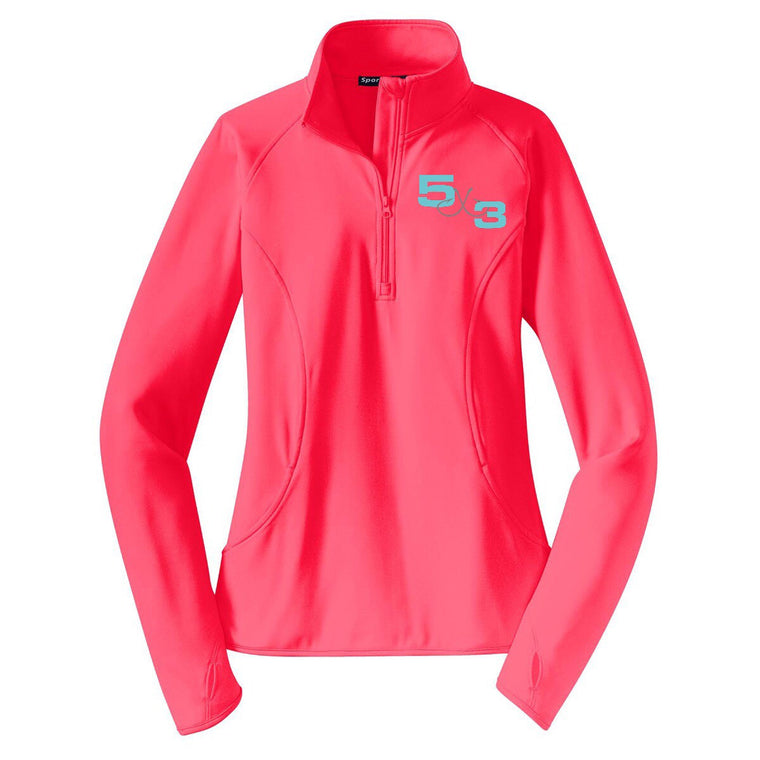 Ladies Moisture Wicking 1/2 Zip Pullover (Colors Available: Hot Coral, White, Blue) PRE-ORDER