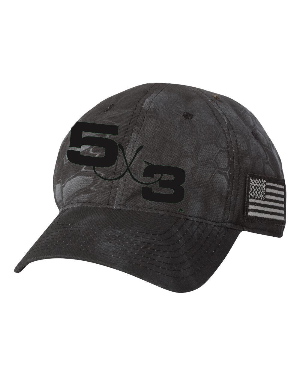Kryptek Camo American Flag 5X3 Hat. Available in brown and black