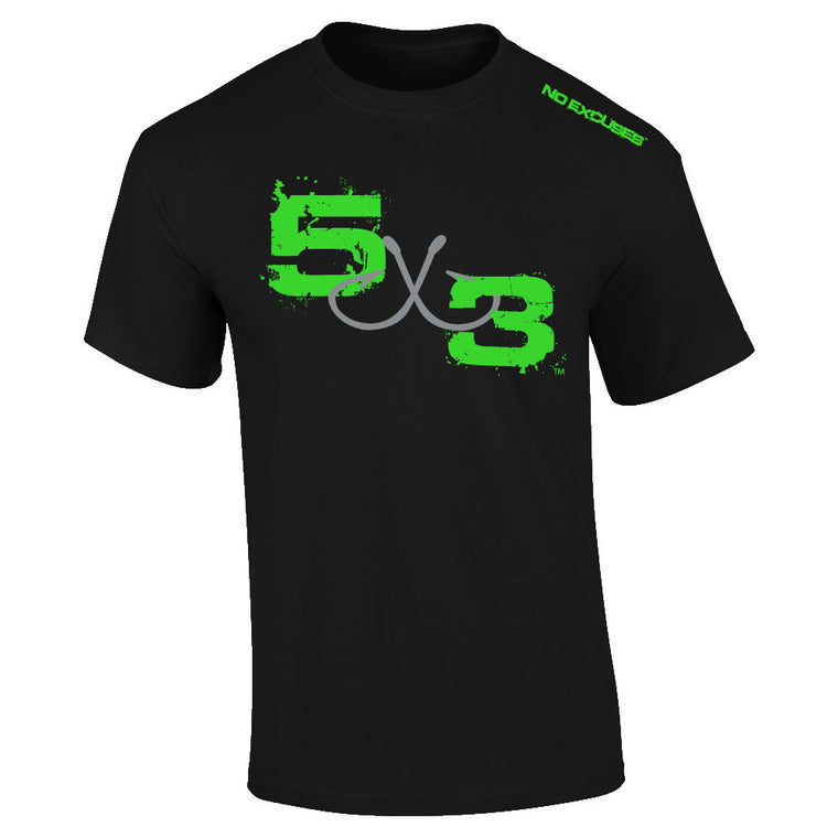 5X3 (Black and neon) Moisture wicking short sleeve sunshirt.