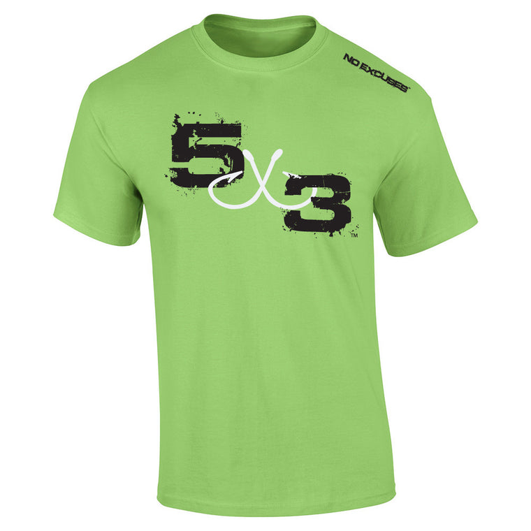 5X3 (Lime) Moisture wicking short sleeve sunshirt.