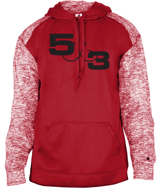 Red with Red Heather Sleeve Hoodie (preorder)