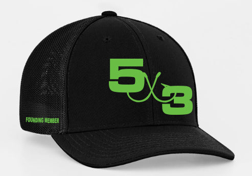 Founding Member Black and Neon large and small logo snapback
