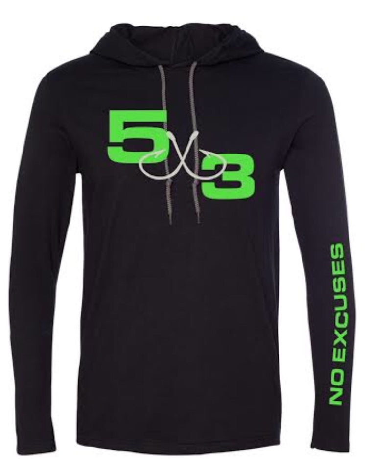 Hooded T-Shirt Black with neon green.
