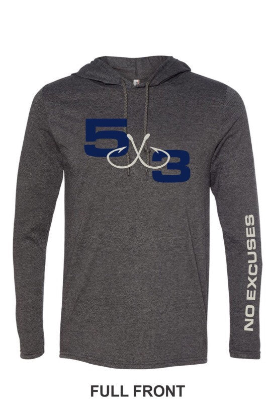 5X3 Hooded dark gray and navy T-Shirt. PRE-ORDER