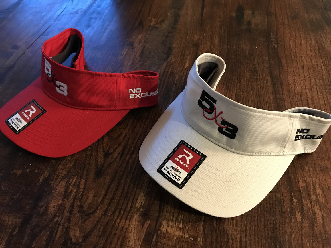 5X3 Moisture Wicking Visor (Tan and Red)