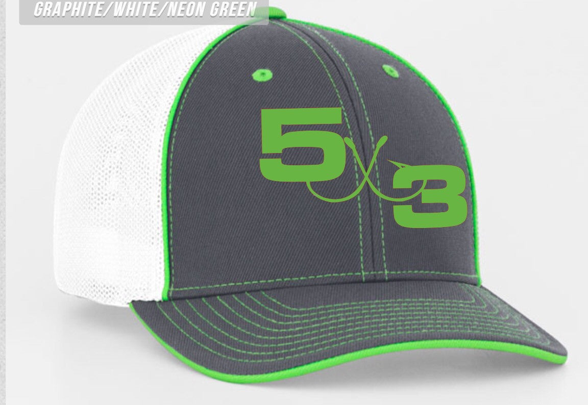Gray white and Neon Green Hat
