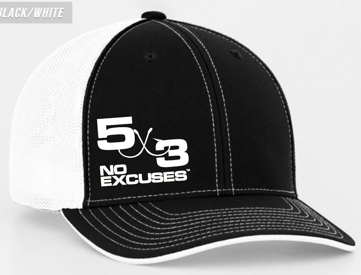 Black and White Fitted Hat With Small White Logo
