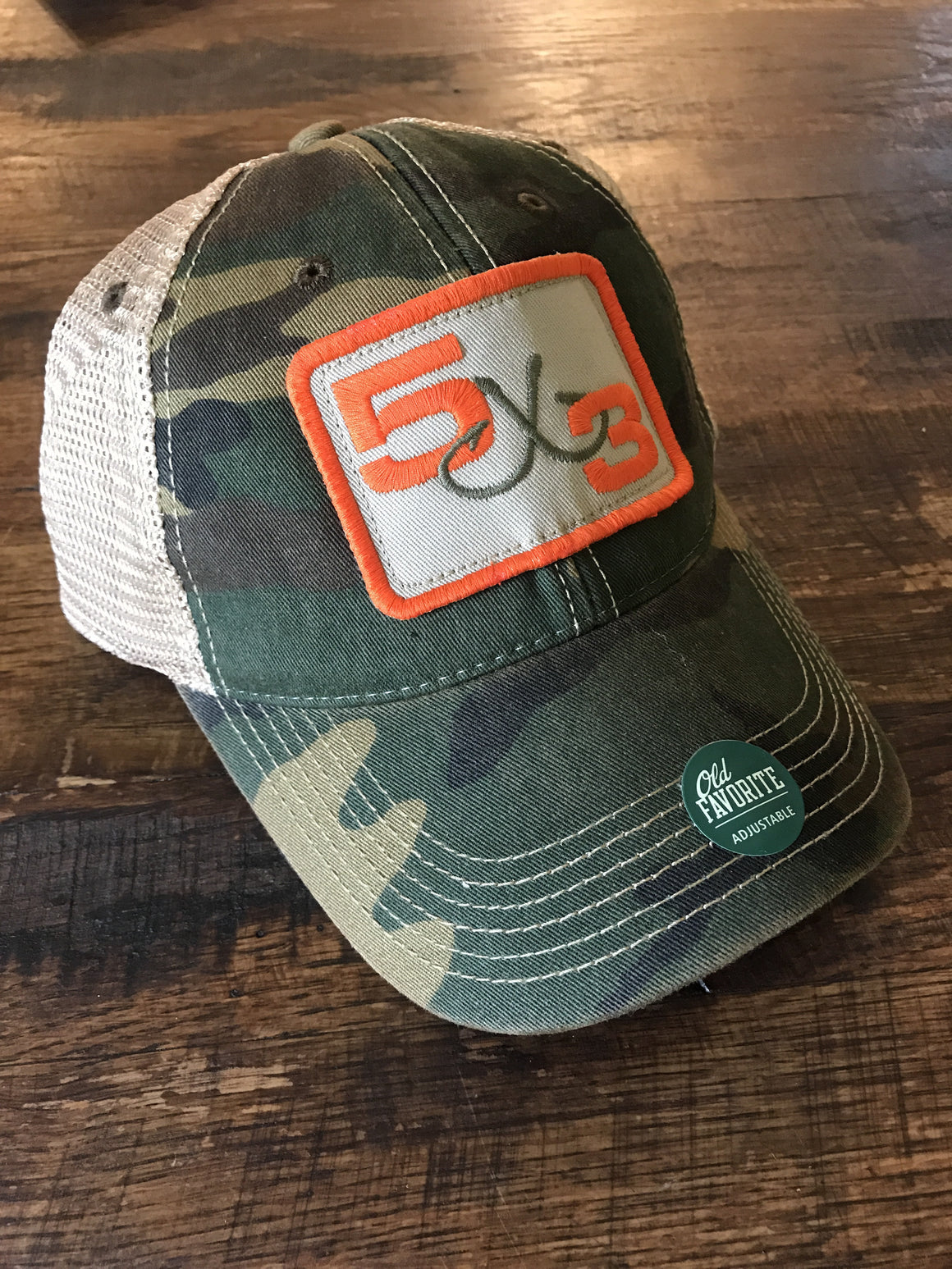 New 5x3 camo and orange legacy hat.