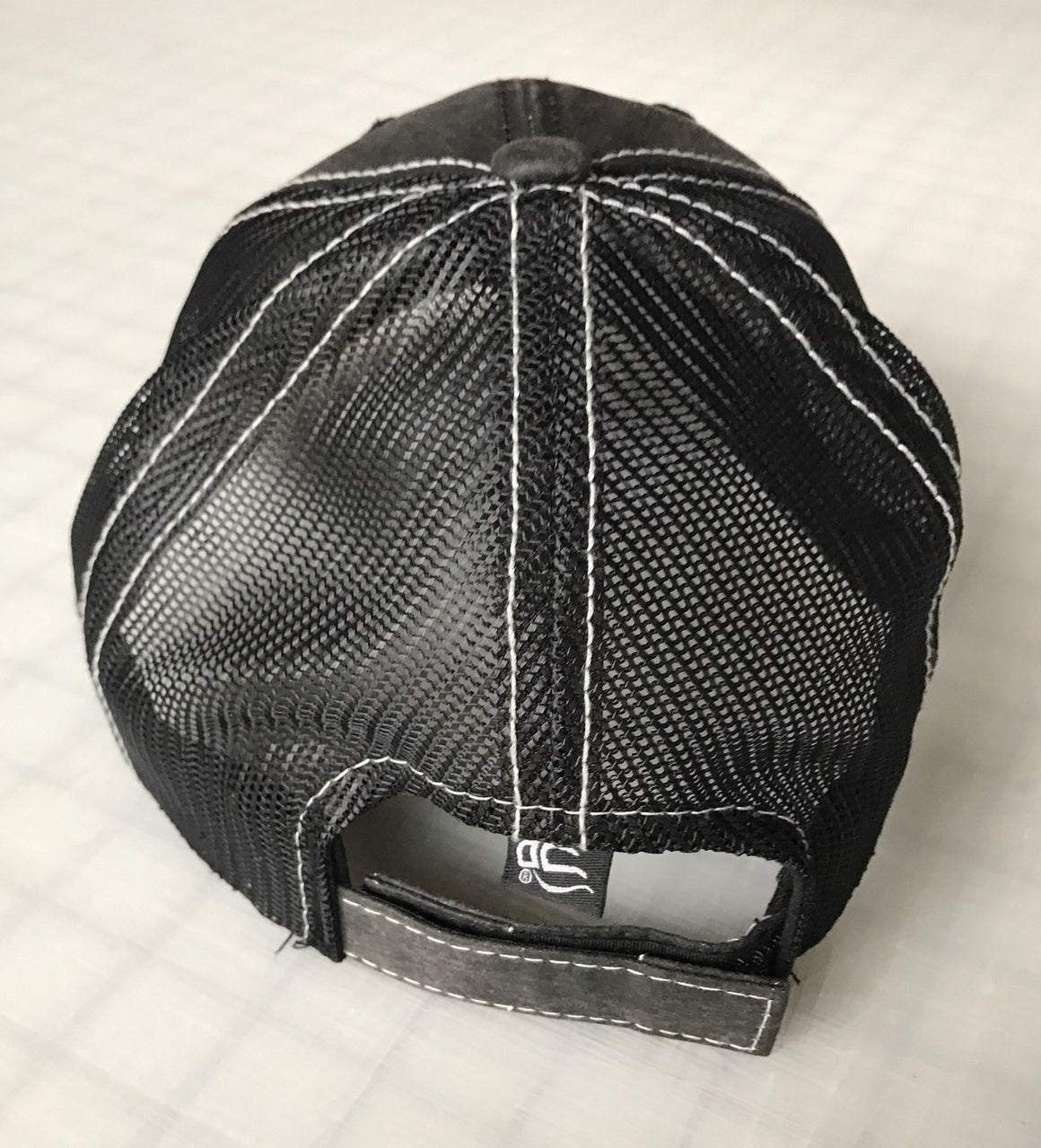 5x3 worn black adjustable mesh hat