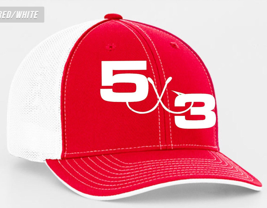 5X3 Red and White Embroidered Fitted Hat