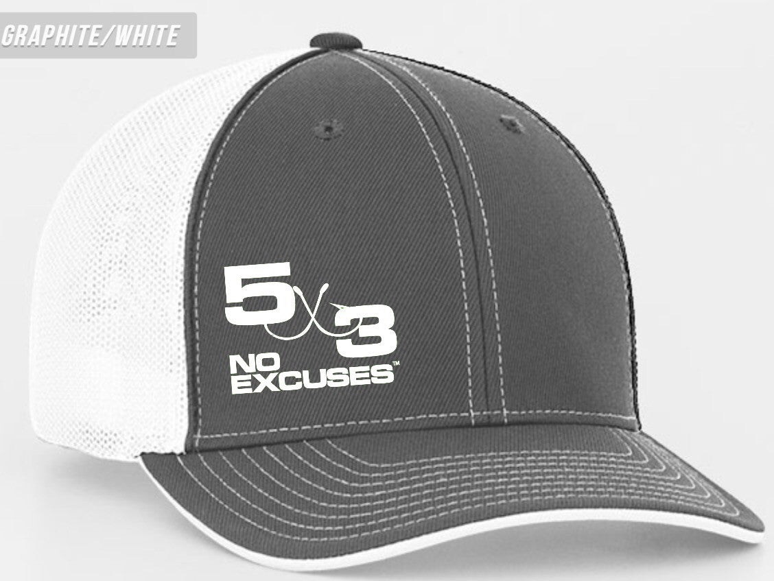 Gray and white small logo fitted hat.