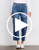 Sundry Patch High Rise Relaxed Straight Leg Jeans