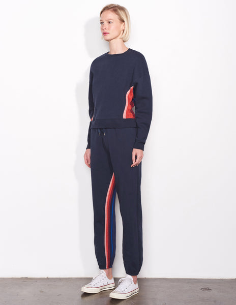 Sundry Multicolor Panel Crew Neck