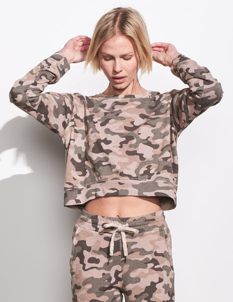 Sundry Camo Crop Sweater