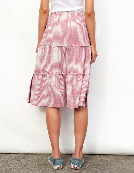Sundry Stripes Tiered Skirt