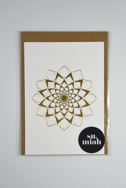 Gold Foil Sunflower Postcard