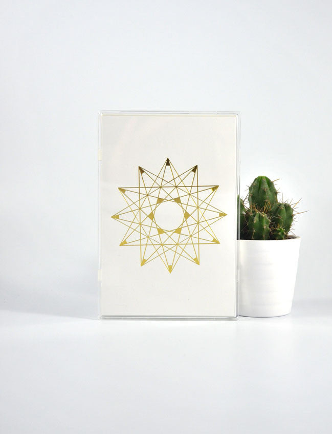 Gold Foil Line Star Postcard