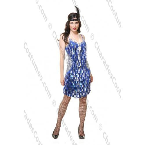 Blue and Silver Tear Drop Mirror Sequin Flapper Dress