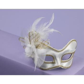 White Satin Venetian Mask