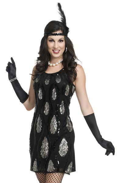 Black Sequin Teardrop Flapper