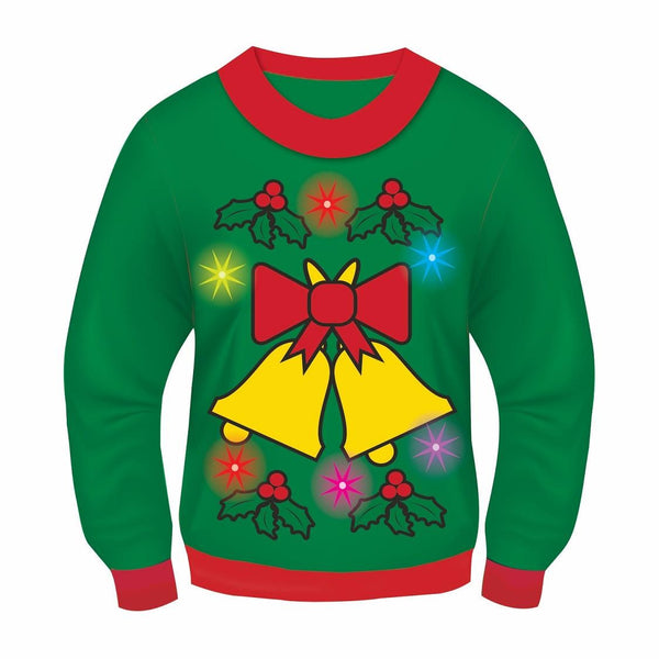 Light Up Jingle Bells Christmas Sweater in Green