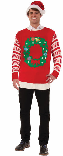 Light Up Wreath Christmas Sweater in Red