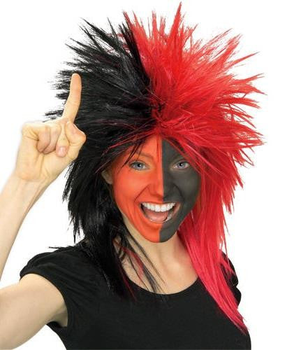 Sports Fanatic Wig - Black and Red