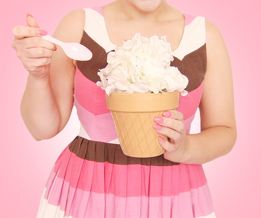 DIY ice cream cone flower pot