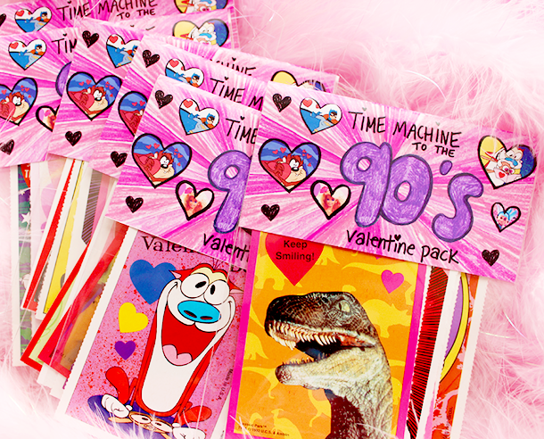 Time Machine to the 90's valentine card pack - Teacher's Edition