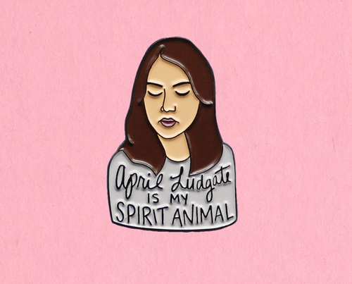 April Ludgate enamel lapel pin