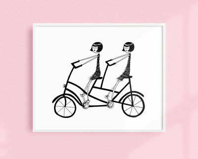 Eloise and Ramona on their bicycle art print