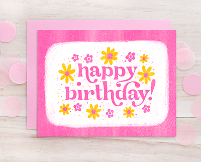 Happy Birthday retro style greeting card